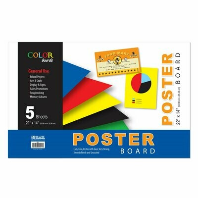 """Bazic / Poster Board Assorted Color 22"""" X 14"""", Pk-5"""