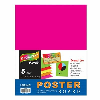"""Bazic /  Poster Board Multi Color Fluorescent, 11"""" X 14"""", Pk-5"""