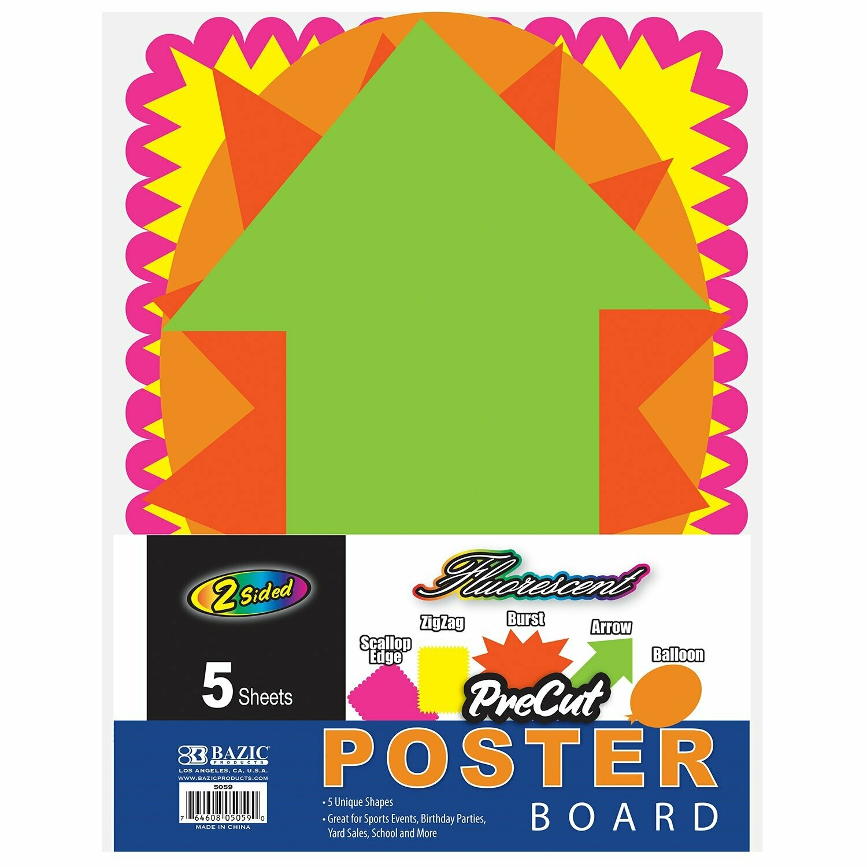 Bazic / Poster Board Fluorescent Pre-Cut Shapes, Pk-5