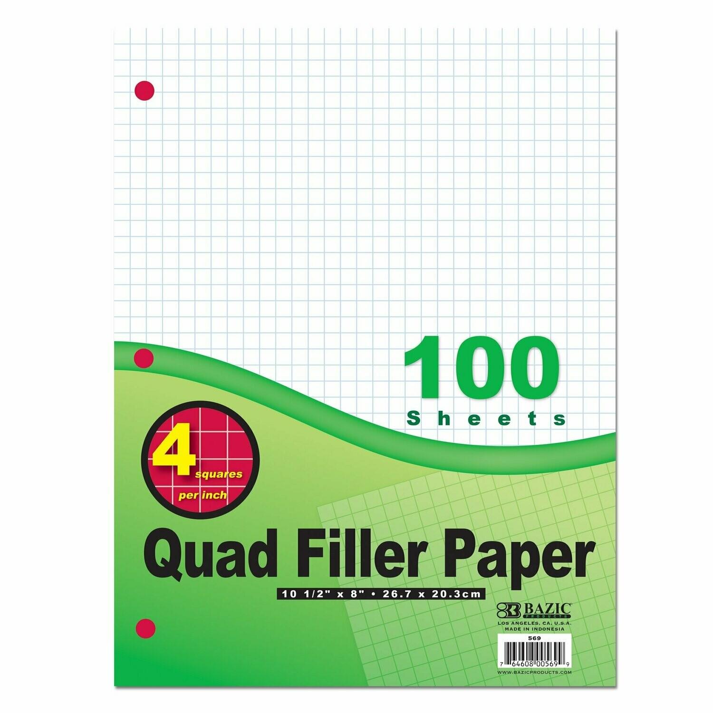 Quad Filler Paper, 100 Sheets / Bazic