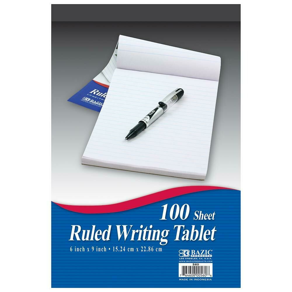"Bazic / Writing Tablet 6"" X 9"" Ruled, 100 Sheets"