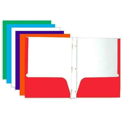 Bazic /2-Pockets Portfolios Laminated Bright Glossy Color  with 3 Prong Fastener