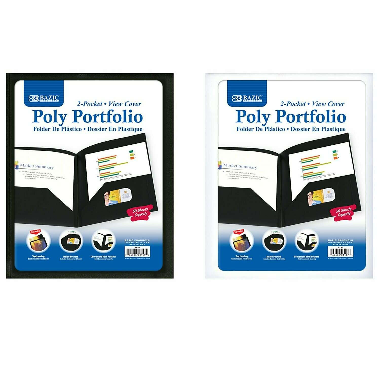 Bazic / 2-Pockets Portfolio Plastic with View Cover