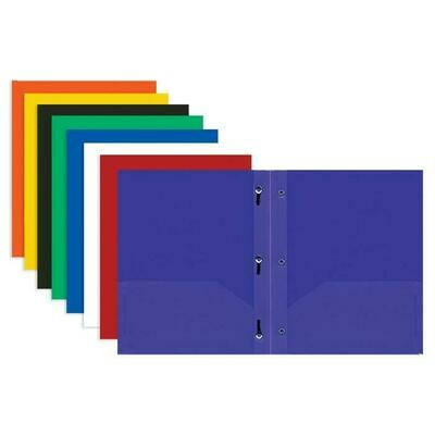 Bazic /2-Pockets Portfolio Solid Color, Plastic with 3 Prongs