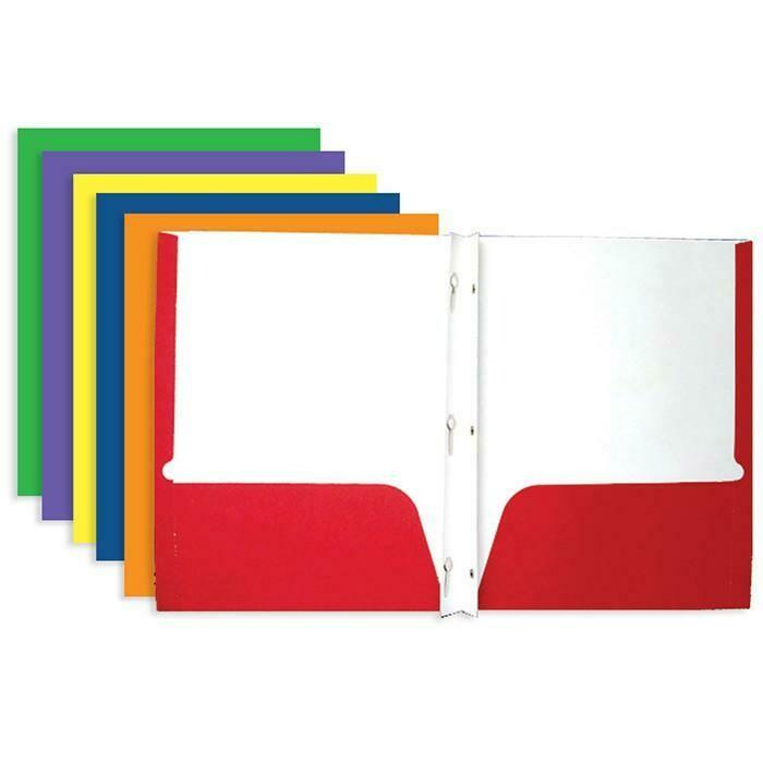 Bazic / 2-Pockets Portfolios Assorted Color  w/ 3-Prong Fastener