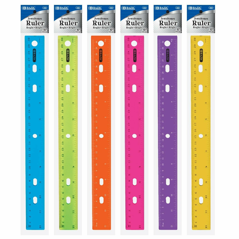 "Bazic / Ruler 12"" Plastic, Jeweltones Color"