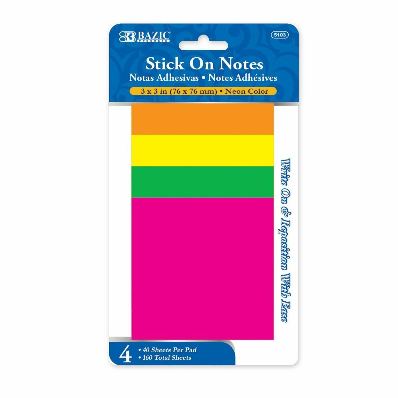 "Bazic / Stick On Notes Neon 3""x 3"", Pk-4"