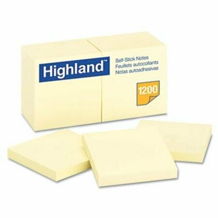 """Highland / Self-Stick Pads, 3 x 3"""", Yellow"""