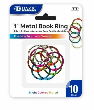 "Bazic / Book Ring Metal, Assorted Colors, 1"", Pk-10"