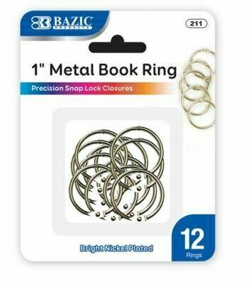 "Bazic / Book Ring Metal 1"", Pk-12"