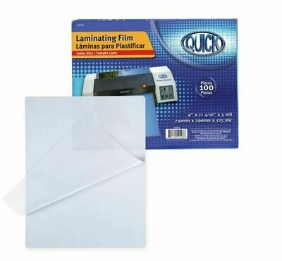 Quick / Laminating Pouch, Letter Size, 5mil, 100/Box