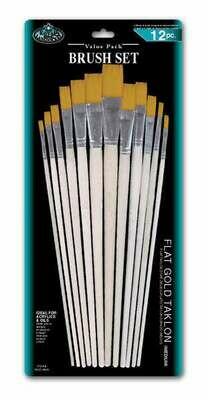 ROYAL BRUSH Brush Set Flat Gold Taklon (12