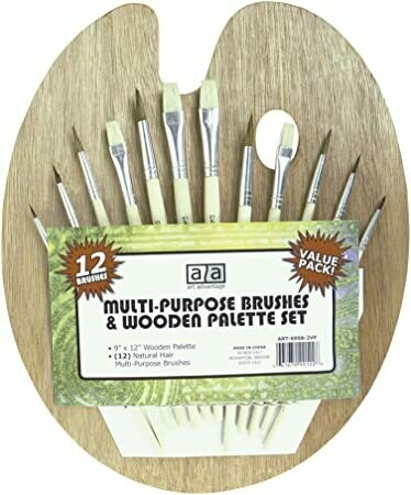 "Palette Wood 9x12"" w/12 brush"