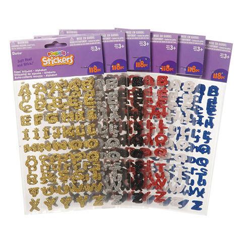 Foamies® Alphabet Stickers - 6 Glitter Colors - 118 pieces