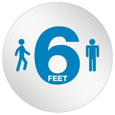 """Personal Spacing Discs 20"""" diameter Circle w/ Adhesive 6 Feet Apart"""