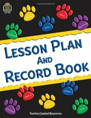 Lesson Plan & Record Book- Paw prints- Roll Book