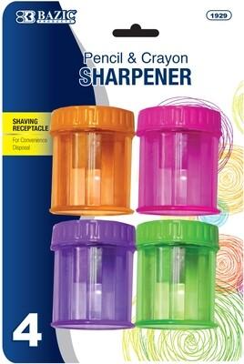 1-Hole Sharpener w/basket, (pk-4)/ Bazic