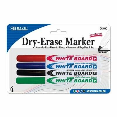 Marker Dry-Erase Fine Tip Assorted (pk-4)