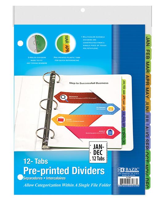Dividers Plastic Jan-Dec