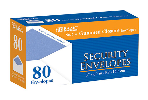 Security Envelopes w/Gummed Closure 6-3/4 (bx-80)