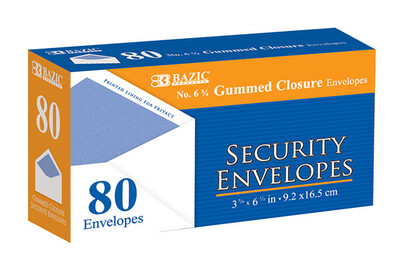 Security Envelopes w/Gummed Closure 6-3/4 (bx-80)