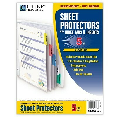 Sheet Protector w/Tabs Colors