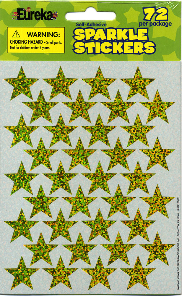 "Stickers Sparkles 3/4"" Gold Stars [pk-72]"