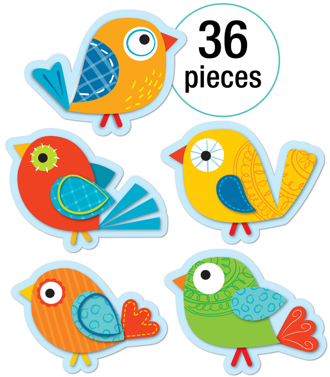 Accents Boho Birds (pk-36)- Colorful Cut-Outs