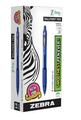 Zebra Pen Z-Grip Ballpoint Pen Black, 1 Dozen