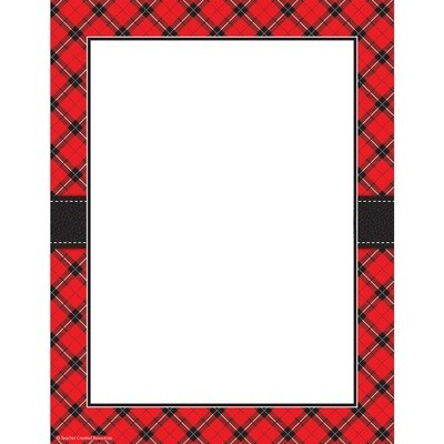 Computer Paper Red Plaid [pk-50]