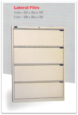 File Lateral 4 or 5-Drawers Sand, Fixed Drawers