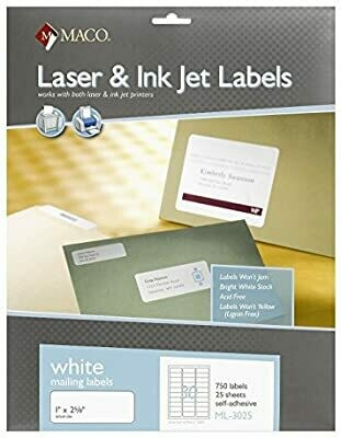 "Label Laser/IJ 1 x 2-5/8""  Wht [pk-750]"