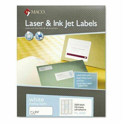 """Label Laser/IJ 1 x 2-5/8""""  Wht [bx-3000]"""