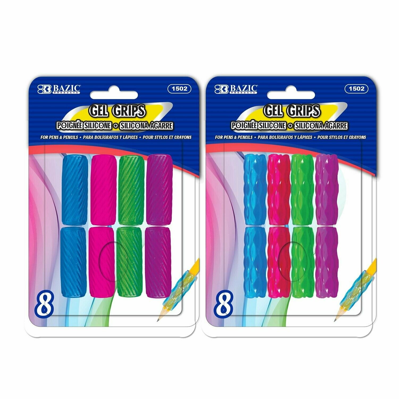 BAZIC / Pencil / Pen Grip (8/Pack) Assorted Color & Shape Gel
