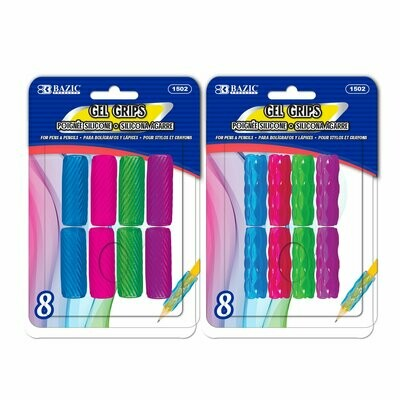 BAZIC / Pencil / Pen Grip (8/Pack) Assorted Color & Shape Gel