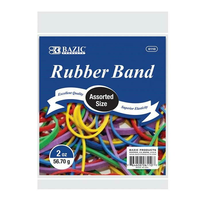 BAZIC /  Rubber Bands 2 Oz./ 56.70 g Assorted Sizes and Colors