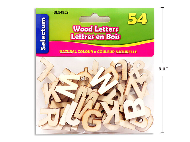 """Wood Letters 3/4"""" Size 54pcs NATURAL COLOUR"""