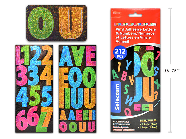 "HOLOGRAPHIC VINYL ADHESIVE LETTERS & NUMBERS SIZES 2"" & 1"" 212 PCS TOTAL ASSORTED COLOURS"