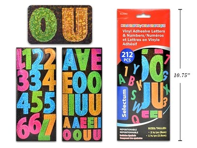 """HOLOGRAPHIC VINYL ADHESIVE LETTERS & NUMBERS SIZES 2"""" & 1"""" 212 PCS TOTAL ASSORTED COLOURS"""