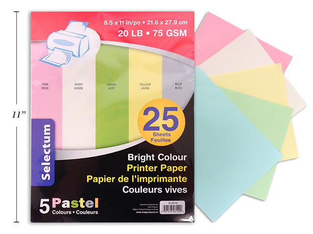"PASTEL COLOR COPY PAPER 75 GMS 8.5X11"" 25/PKG IVORY/YELLOW/PINK/GREEN/BLUE"