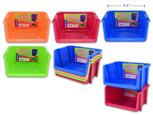 "Classroom Bins Stackable 9.6 x 7.8 x 5.5"", 4 Assorted Colors"