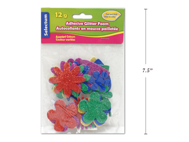 Foamy Glittered Adhesive, Flower Shapes