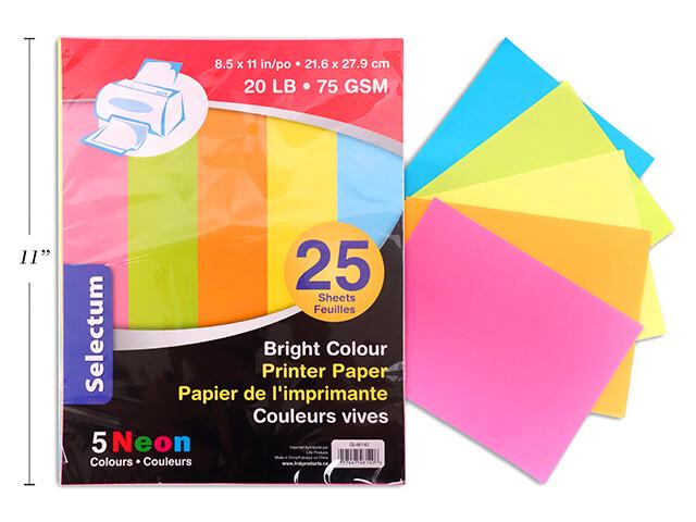 """BRIGHT NEON COLOR PRINTER PAPER 25 SHTS, 8.5X11"""" 80 GMS (20 LB) TTL 5 ASS'T NEON COLOURS"""