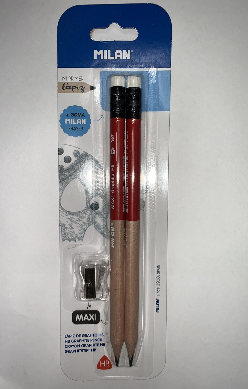 Pencil Maxi Jumbo Triangular w/Sharpener (pk-2) <Lápiz Grueso Triangular>
