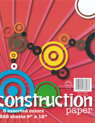 "Construction Paper 9""x12"" [pk-288] 8 Colors"