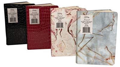 """Journal - 5.8 X 8.3"""" - 192 Pages - Inside Ribbon - 2 Croc And 2 Marble Covers"""
