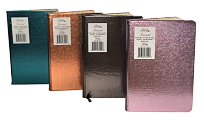 """Journal - 5.8 X 8.3"""" - 192 Pages - Inside Ribbon - Metallic Pu Covers"""