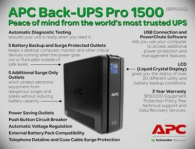 APC // Back-UPS Pro 1500, 120V, 865W, 10xSurge/5xBups