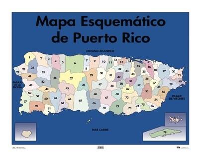 Poster Mapa Esquemático De Puerto Rico