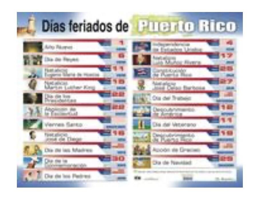 Poster Los Días Feriados De Puerto Rico